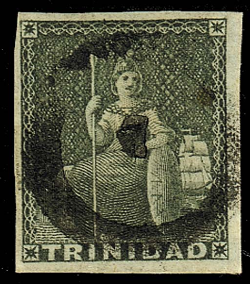 used  NO. 7 (Arima): 1853 (1d.) brownish grey with good to large margins and showing a legible central strike, fine. Rare. Photo