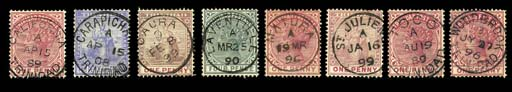 used  The collection of selected Types 1-4 Town datestamps with most offices represented, also a range of Trinidad double-arc and c.d.s., Trinidad Paid, Trinidad M.O.O., Parcel Post and San Fernando M.O.O. cancels on loose adhesives plus an unsorted range in packets etc. Viewing strongly recommended. Photo for a selection