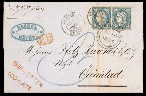 cover 1876 (22 July) entire le