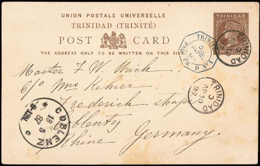 cover 1887 (30 Apr.) 1½d. stat