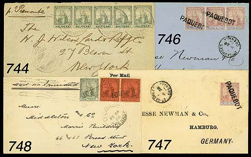 "cover 1905 envelope to New York bearing 1901-02 ½d. and 1d. (2) cancelled by ""PAQUEBOT"" h.s. (Hosking Fig. 98) and showing ""ST GEORGE'S/GRENADA"" c.d.s. (24.2) alongside with arrival d.s. (9.3) on reverse. Photo"