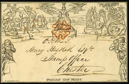 "cover A78, addressed to the Stamp Office at Chester and inscribed ""O.H.M.S."", cancelled by very fine strike of the red Cross, the reverse with Congleton double-arc datestamp of 28 October 1840; fine, clean and unusual. Photo"