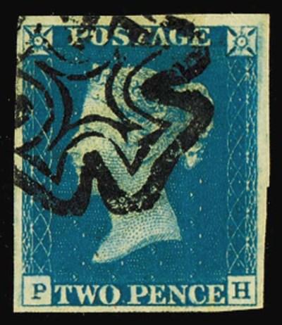 used  -- 1840 2d. plate 1, PH,