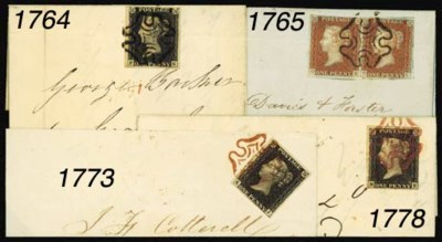 cover 1841 1d. pair, unplated,