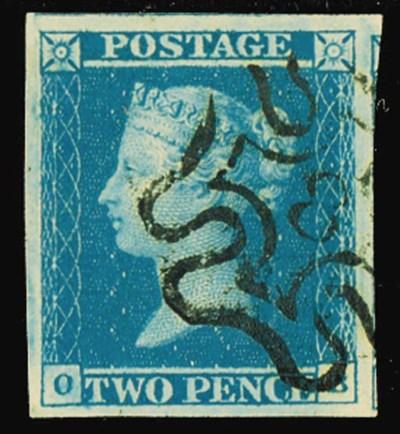used  1841 2d. plate 3, OB, la