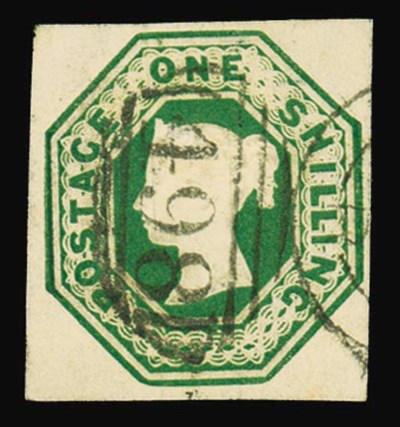 used  1/- green, large margins