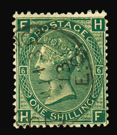 F 1/- green, plate 6, HF, fine