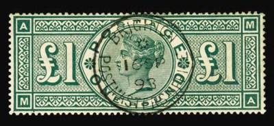 used  £1 green, MA, superb cen