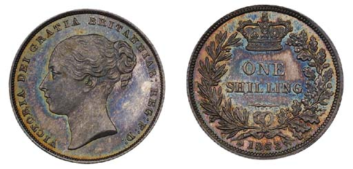 Victoria, proof Shilling, 1853