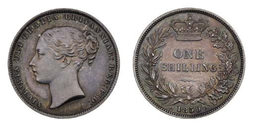 Victoria, proof Shilling, 1859