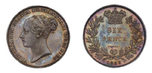Victoria, proof Sixpence, 1839