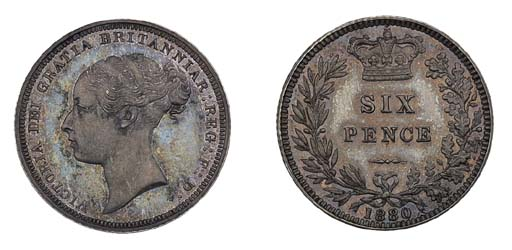 Victoria, proof Sixpence, 1880
