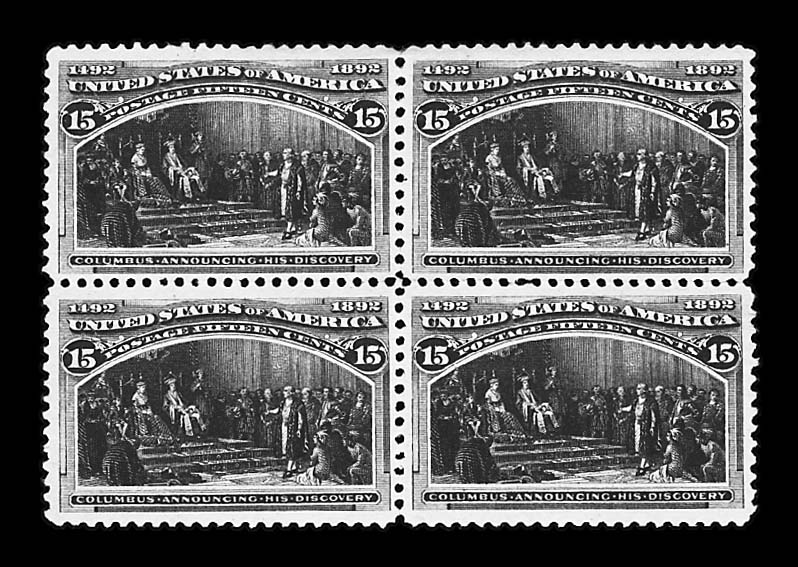 15c Columbian (238), unused block of four, fresh, o.g., (but, well hinged), beautifully centered, gorgeous intense deep rich color and a sharp clear impression, extremely fine and choice, Scott retail $1,000.00       photo