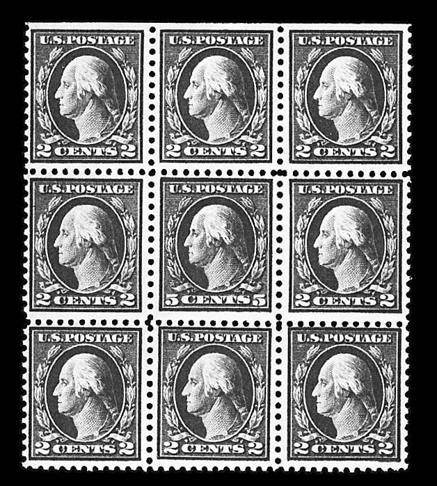 5c Rose error (505), single error in block of nine, mint, never hinged, fine-very fine, Scott retail $1,050.00     photo