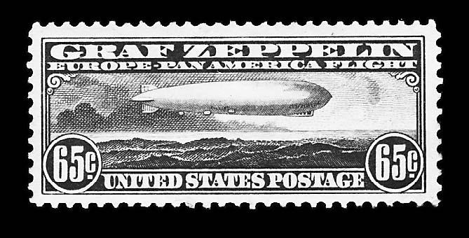65c, $1.30 Graf Zeppelins (C13, C14), unused, o.g., fresh, h.r., very fine, Scott retail $750.00     photo ex