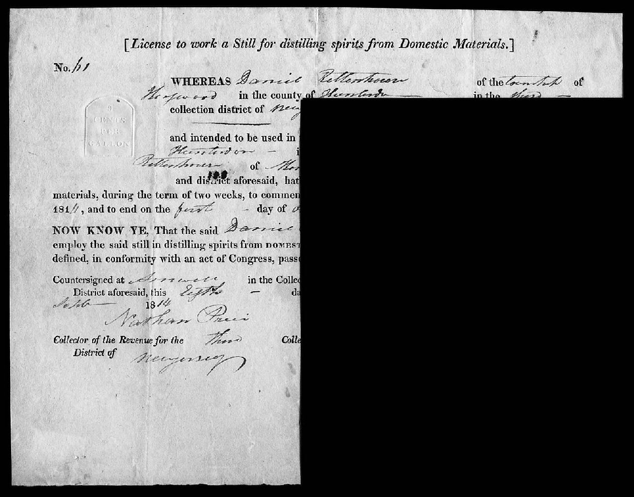 """9c Federal License to Work a Still (RM468a), sharp clear embossed impression on Sept. 8, 1816 partly printed license to """"work a still for distilling spirits from Domestic Materials,"""" 9¾x7¾"""", usual light file folds, few small paper erosions, otherwise very fine, very scarce, rarely offered, Scott retail $1,250.00   photo"""