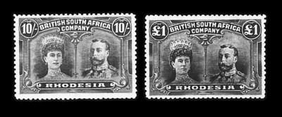 Rhodesia, 1910, ½p-£1 Double H