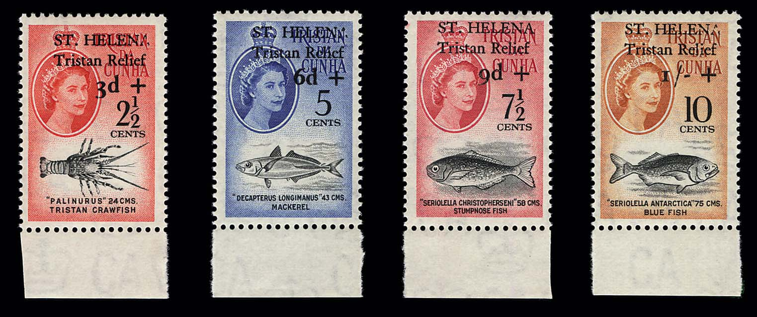 1961, 2½c-10c Tristan Relief surcharges (B1-B4, Gibbons 172-175), mint B. margin singles, very fresh, never hinged, very fine and exceptionally choice set, quite rare, only 434 sets sold before the issue was withdrawn from sale and many sets were used, Scott retail $5,000.00, Gibbons £4,000      color photo