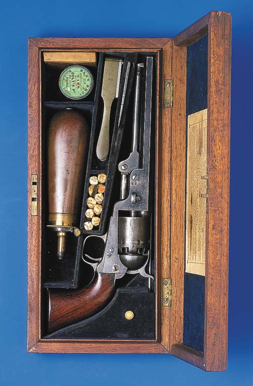 A CASED  36 COLT 1851 NAVY SIX SHOT PERCUSSION REVOLVER