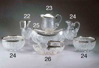 A German silver cut-glass deca