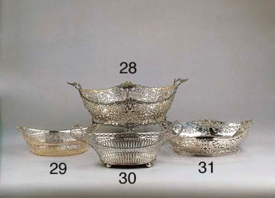 A Dutch silver breadbasket and