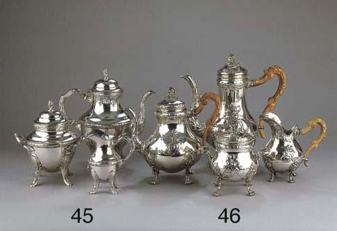 A Belgian silver four-piece te