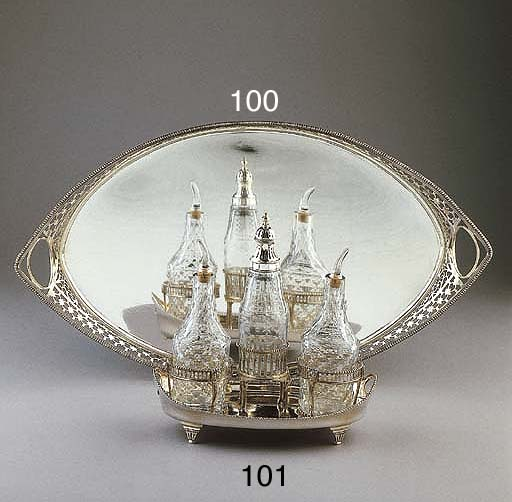 A Dutch silver tray with glass