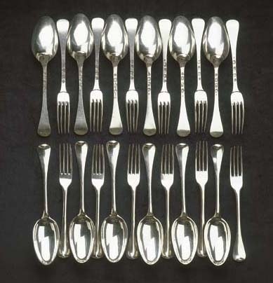 Twelve Dutch silver table fork