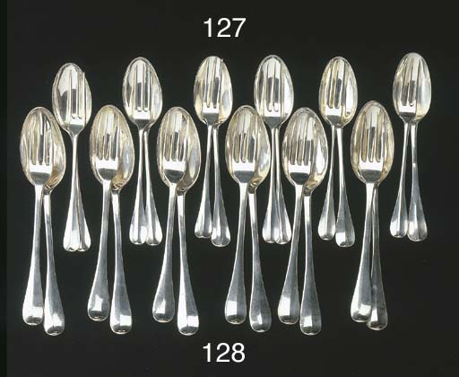 Six Dutch silver dessert forks