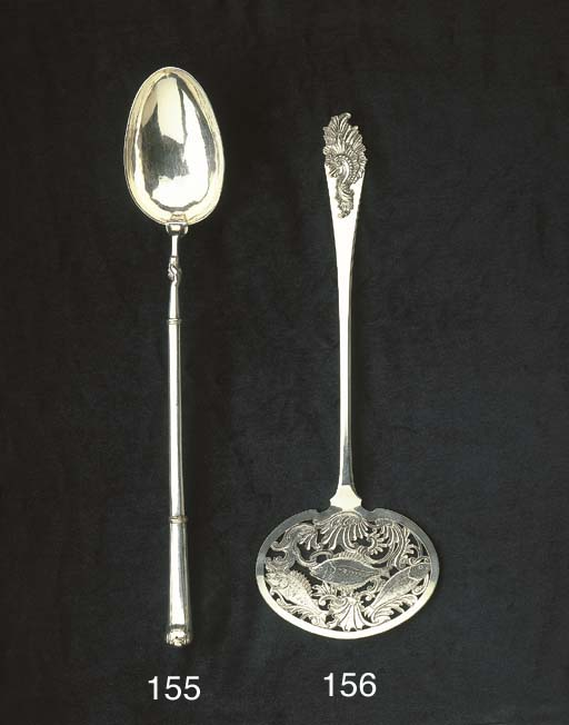A Dutch silver basting spoon