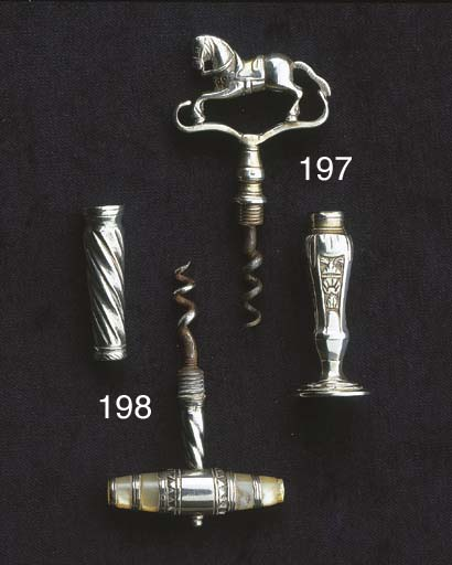 A silver pocket corkscrew
