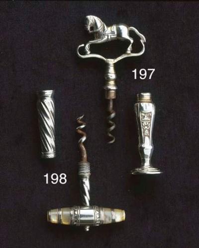 A silver pocket corkscrew