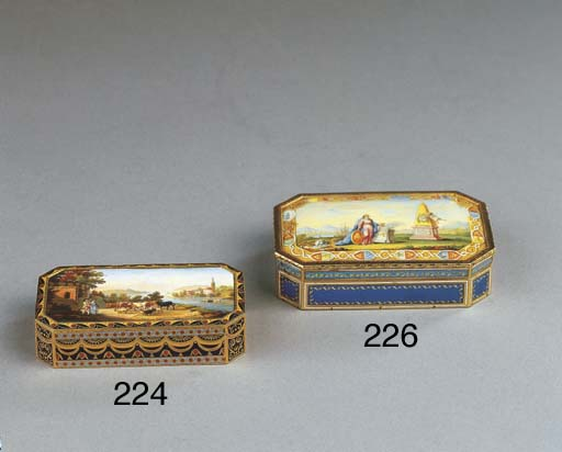 A Swiss gold and enamel snuff-