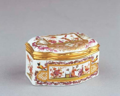 A fine Meissen porcelain and g