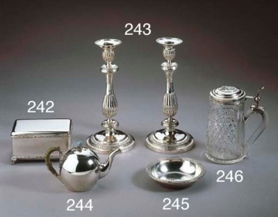 A pair of Russian silver candl