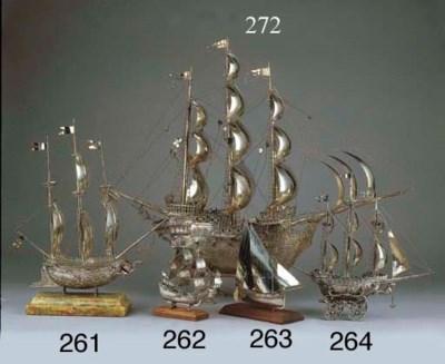A Dutch silver model of a ship