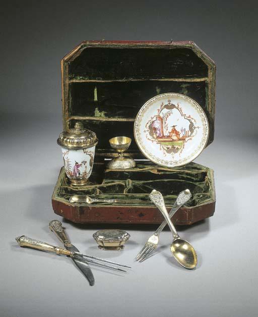 A German silver-gilt and porce