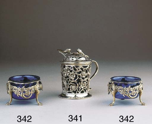 Two silver salt-cellars with l
