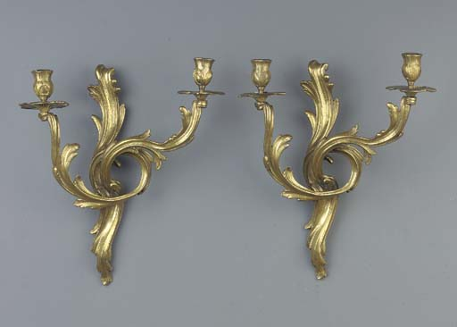 A pair of bronze two-light wal