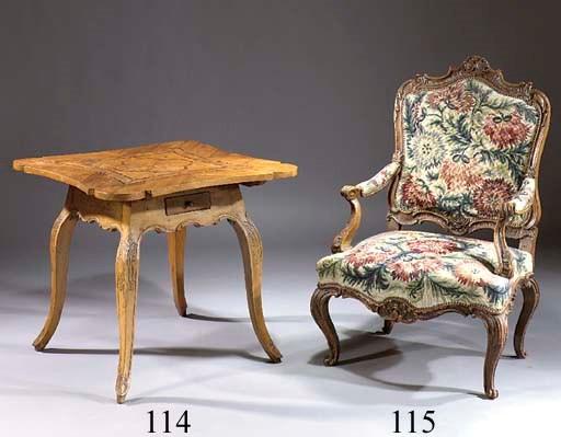 A German walnut fauteuil