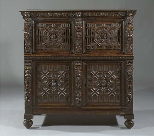 A Dutch stained oak cupboard