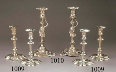 Two George II silver table-can