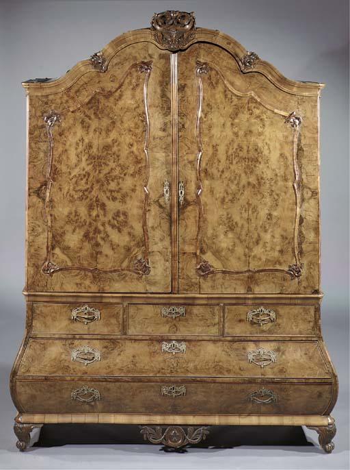 A Dutch burr-walnut cabinet