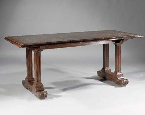 A stained wood library table