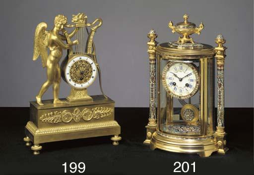A French ormolu lyre timepiece