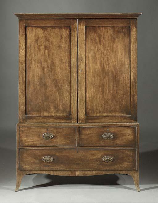 An English mahogany linnen pre