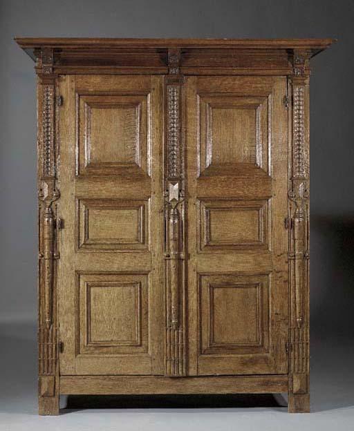 An oak armoire