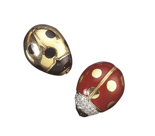 TWO GOLD AND ENAMEL LADYBIRD B