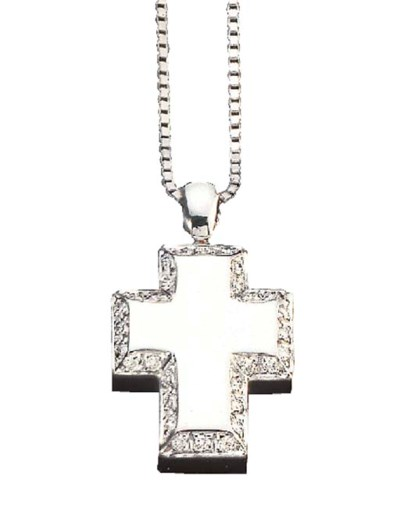A DIAMOND AND WHITE GOLD CROSS