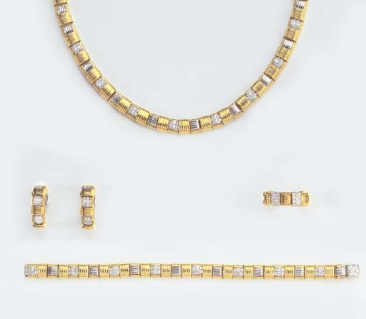 A GOLD AND DIAMOND PARURE